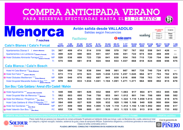 Hasta 30% Compra Anticipada. Hoteles en Menorca salidas desde Valladolid ultimo minuto - http://zocotours.com/hasta-30-compra-anticipada-hoteles-en-menorca-salidas-desde-valladolid-ultimo-minuto/