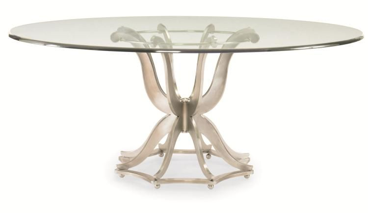Century Furniture Omni Polished Aluminum Base Dining Table With