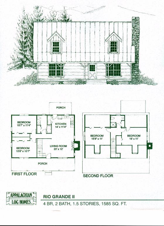 Rio Grande Ii 4 Bed 2 Bath 1 5 Stories 1585 Sq Ft Appalachian Log Timber Homes Hyb Log Home Floor Plans Log Cabin Floor Plans Small Log Cabin Houses