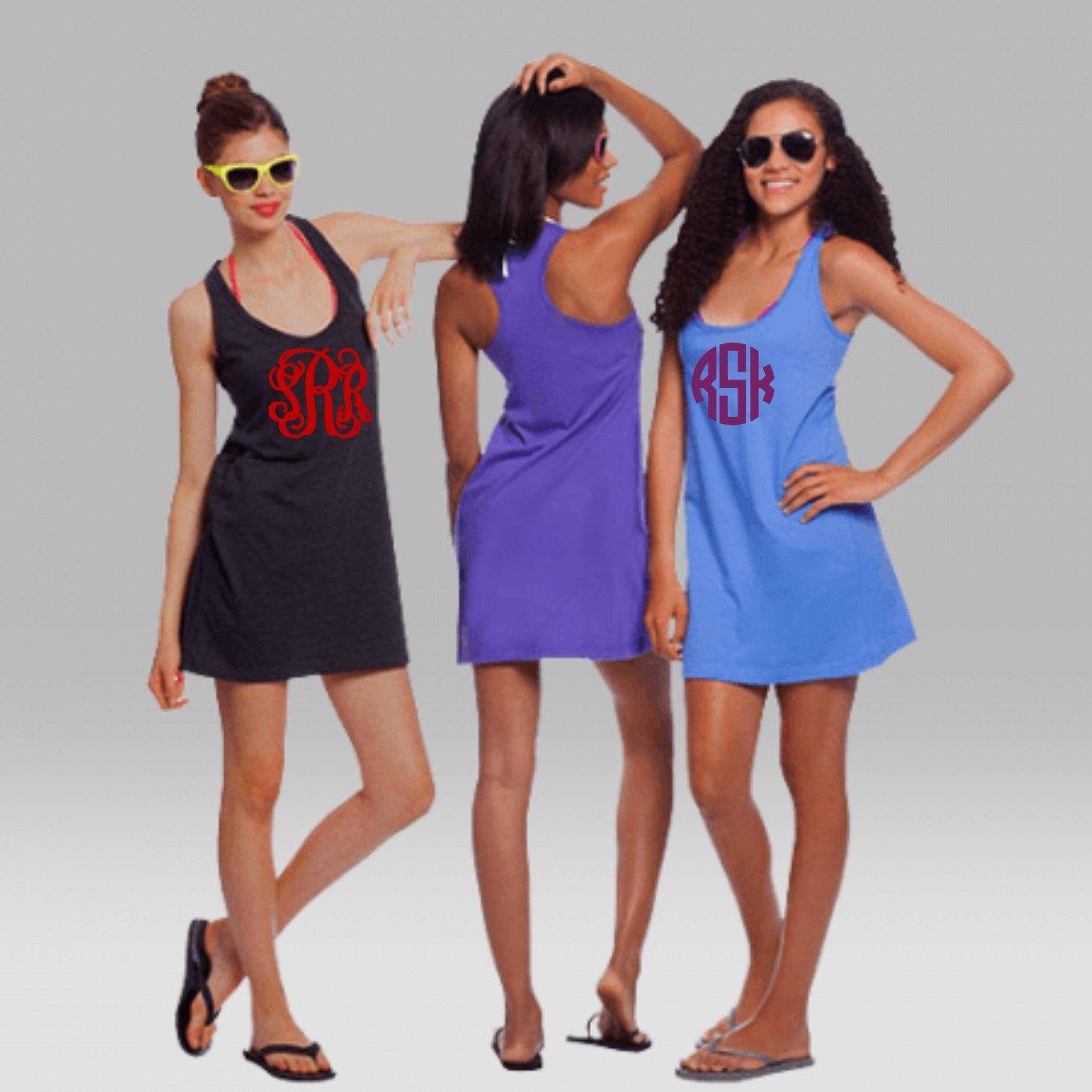 146fa234c3 Monogrammed Swimsuit Coverup Monogrammed Bridesmaid Tank dress Monogrammed  Wedding Sleep wear Women Teens Beach cover up