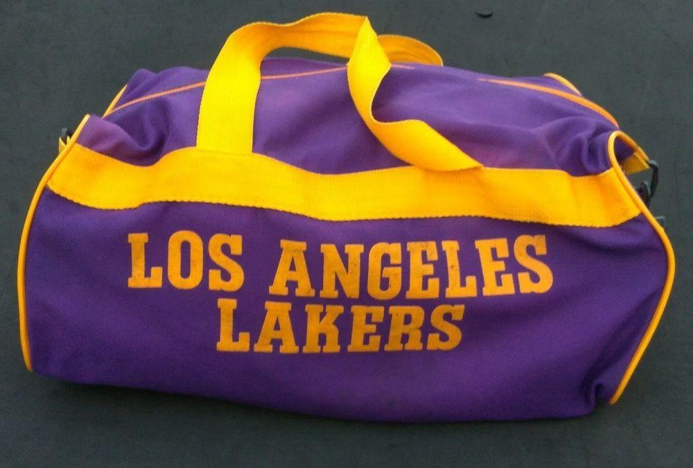 Vintage NBA Basketball Team Los Angeles La Lakers Gym Duffle Bag Purple Gold   LosAngelesAngels 94025c384378d
