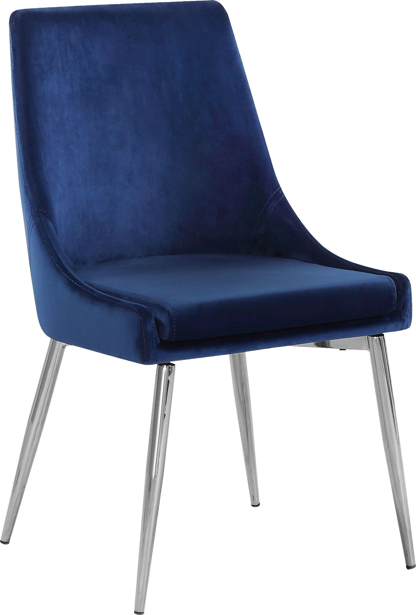 Meridian Karina II Navy Velvet Dining Chair / Chrome Base