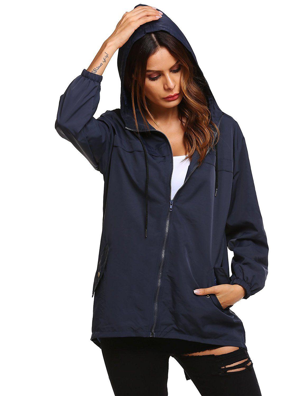 Beyove Womens Rain Jacket Waterproof Hooded Lightweight Active Outdoor Raincoats