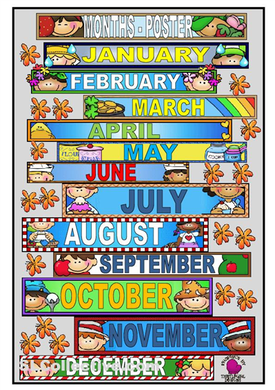 months of the year printables it s a poster to teach the months of