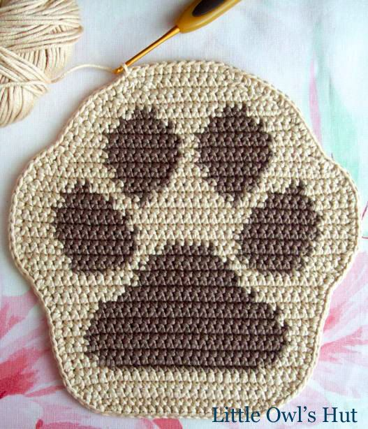 Pot holder or decorative paw 052FRM! Crochet patterns. PDF files. By ...