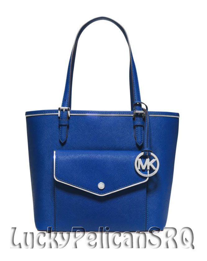 Michael Kors Specchio Jet Set Medium Multifunction Saffiano Tote Bag Blue NWT #MichaelKors #TotesShoppers