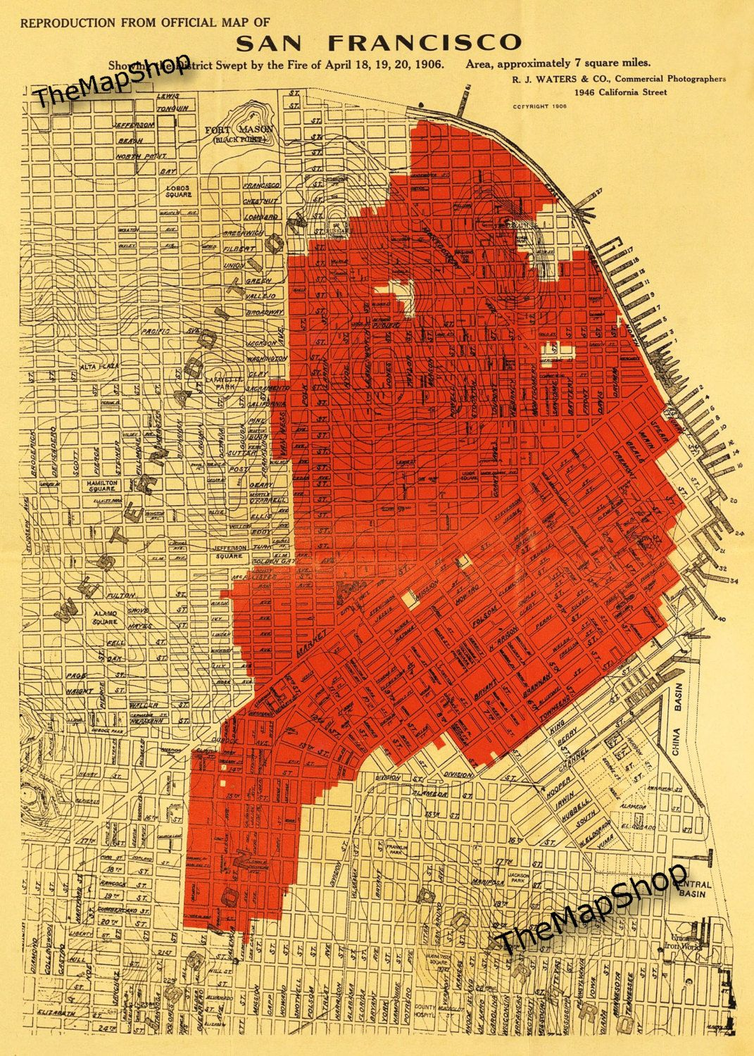 1906 Earthquake Map.1906 San Francisco Fire Map Carolle S City By The Bay San