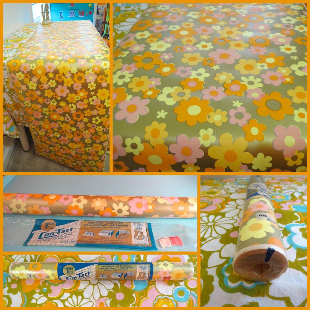 VTG 1970s Retro MOD Flower Power NOS Contact Paper Roll Wallpaper ...