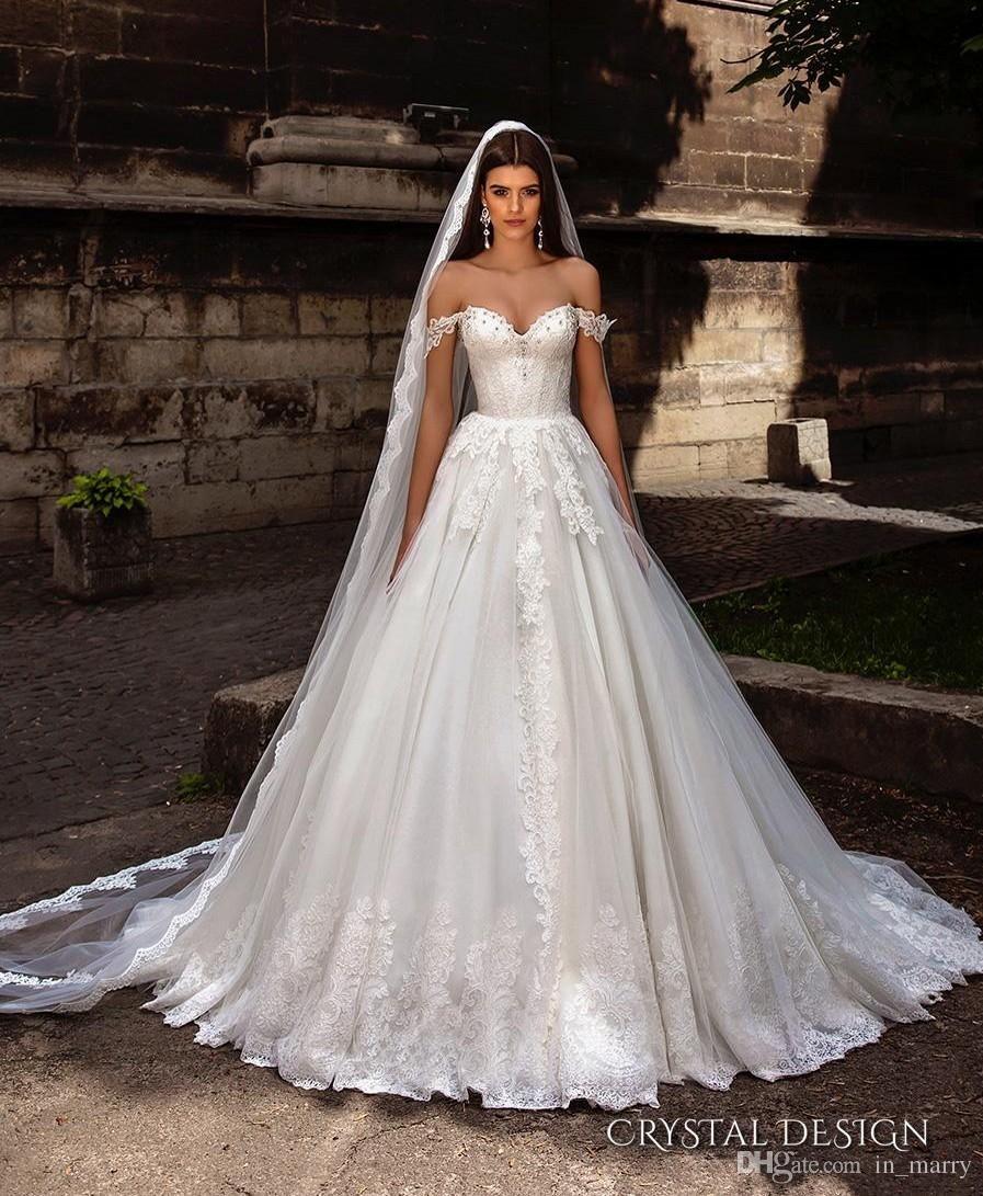 Discount crystal design a line wedding dresses off shoulder