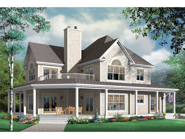 House With Wrap Around Porch And A Balcony Up Top I Want My Future House Needs Country Style House Plans Farmhouse Style House Plans House Plans Farmhouse