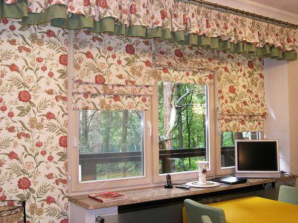 Интересный дизайн кухонных штор: римские шторы с ...