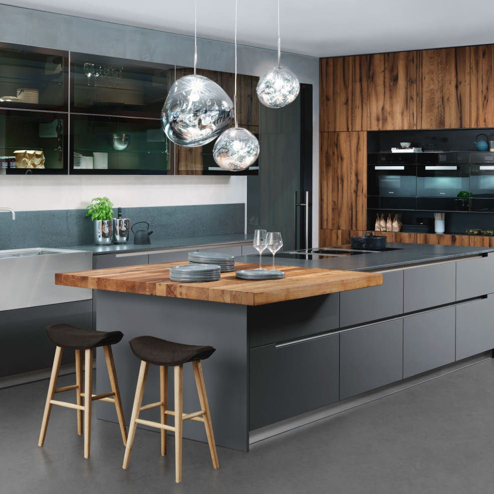 Photo of Gray kitchen with wooden elements