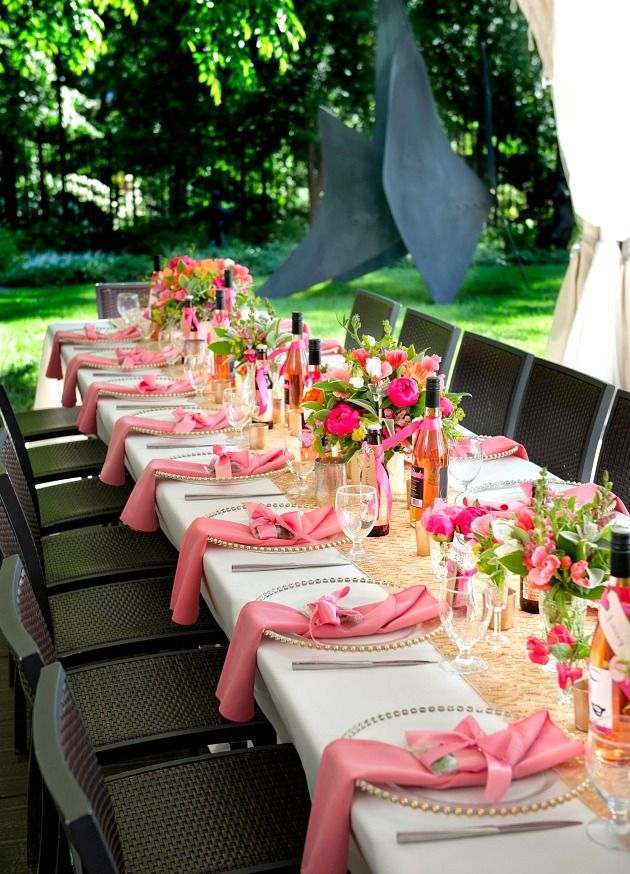 A Pink 30th Birthday Celebration Guest Feature Celebrations At Home Party Table Settings Birthday Table Decorations Brunch Table Setting