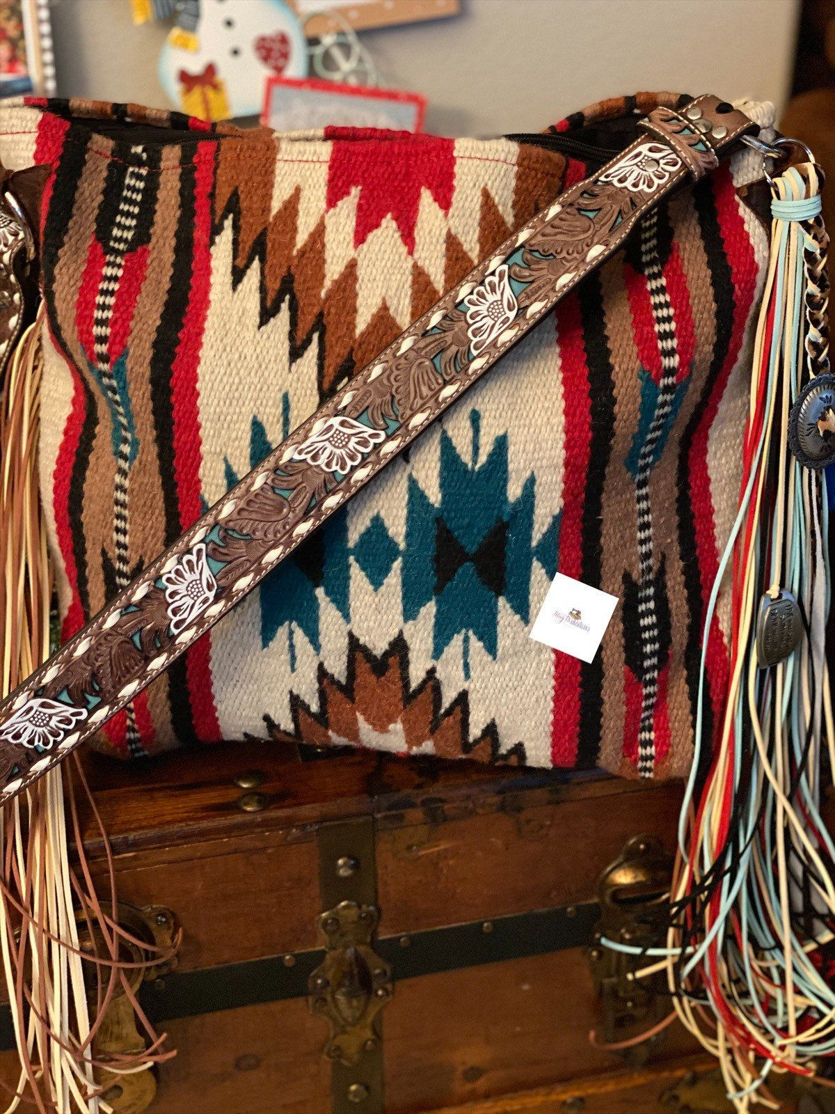 10301B Saddle blanket bag Teal Saddle Blanket Bag Large Southwestern tote Navajo blanket