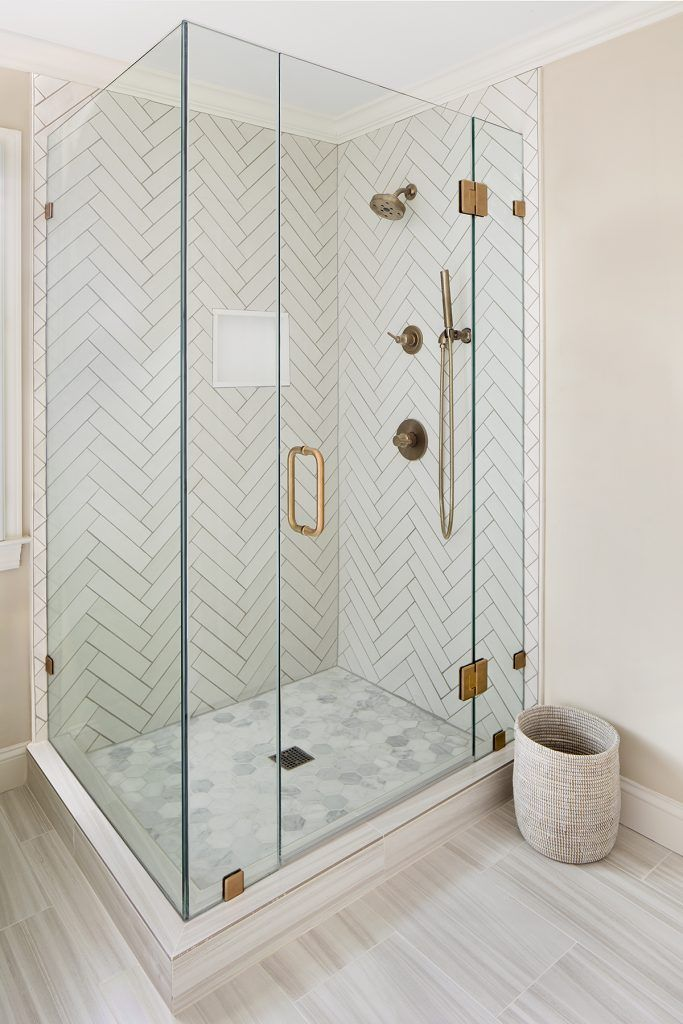 Glass Shower Door With Chevron Tile Design Elizabeth Lawson