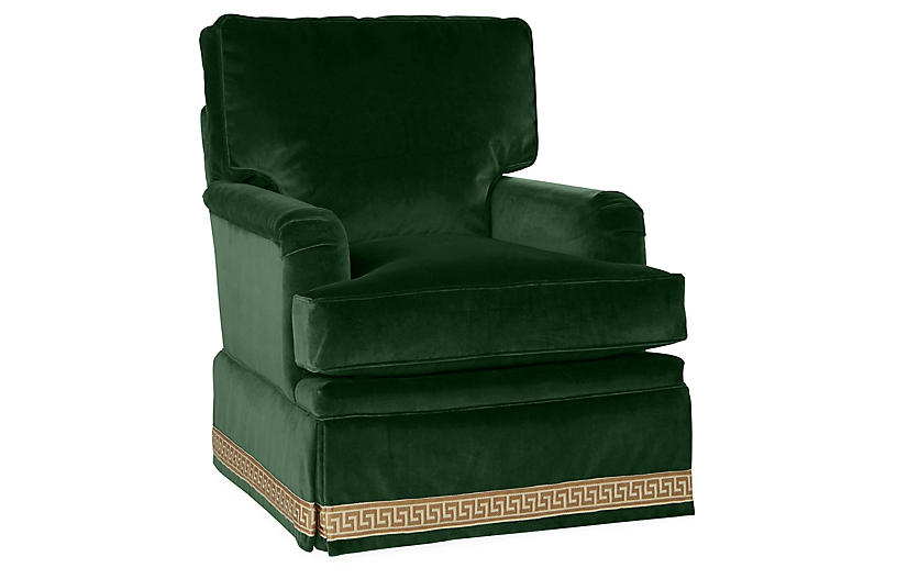 swivel club chair with ottoman dining seat covers india winston emerald velvet miles talbott in 2018