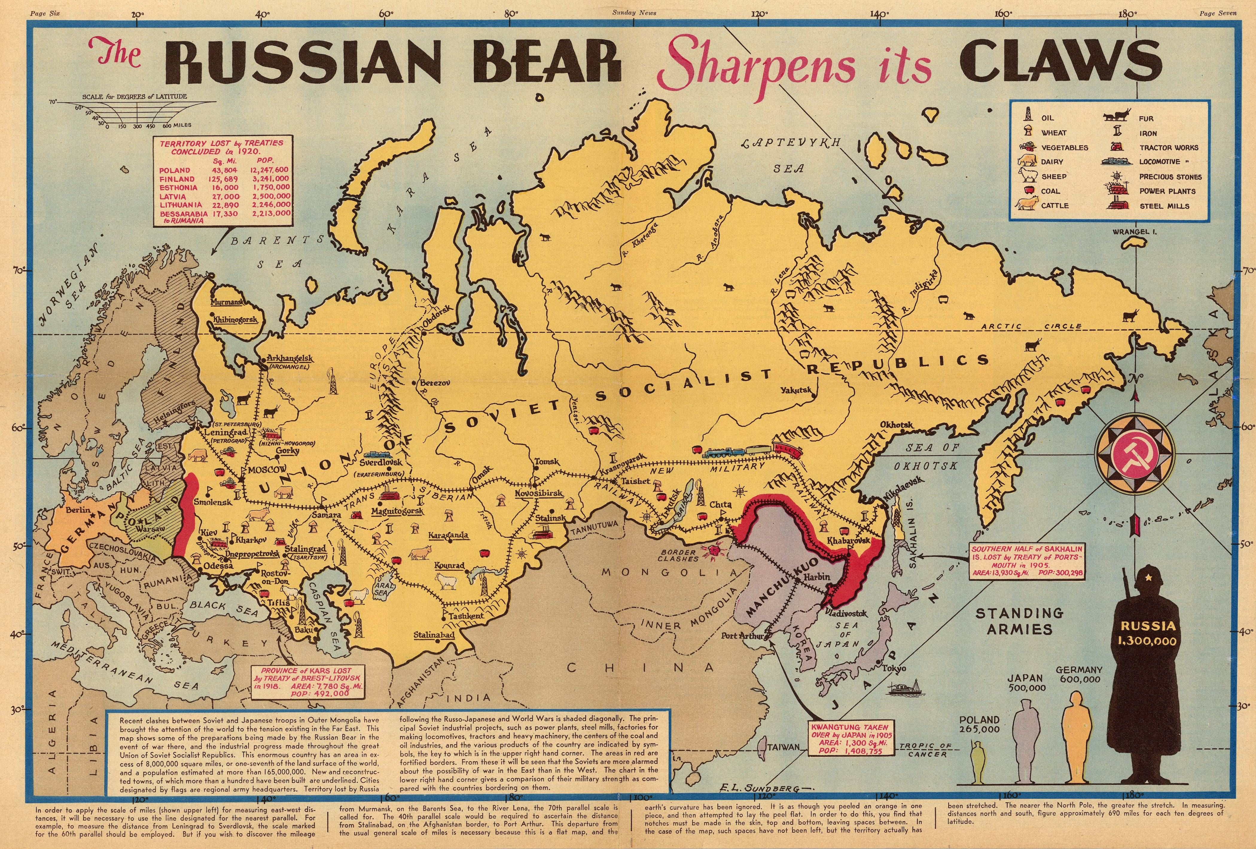 The Russian Bear Sharpens Its Claws Ny Sunday News 1938 Map