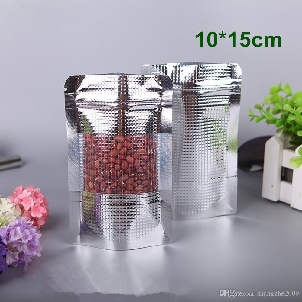 10x15cm 3.9x5.9 Stand Up Pouch Grain Style Silver Aluminum