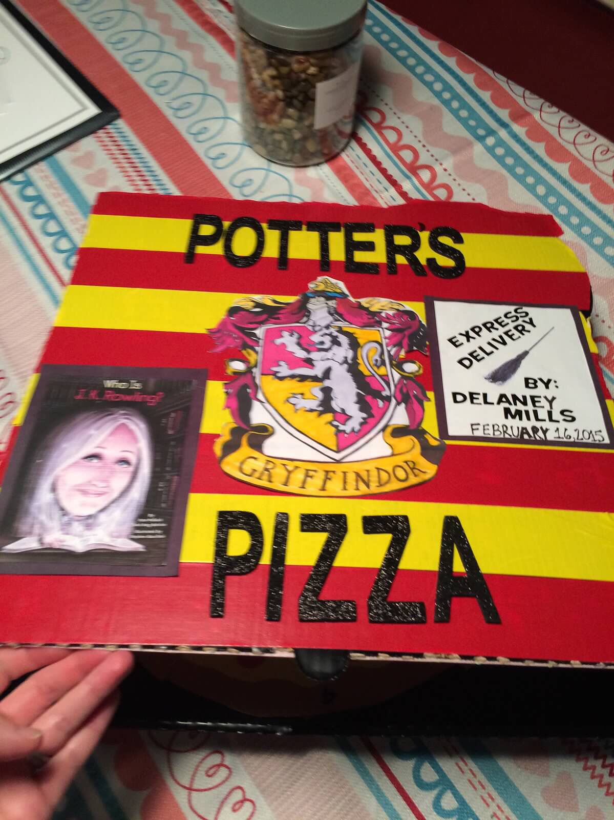 book report in a pizza box