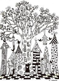 Doodled houses - love the tree in the middle