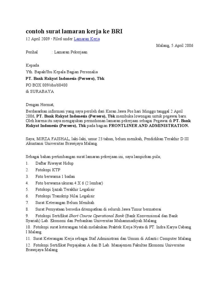 Contoh Surat Lamaran Kerja Bank Bri Sebagai Teller Contoh Surat Lamaran Kerja Di Bank Bri Contoh Surat Lamaran Kerja Di Bank Bri Yang Surat Kerja Cv Kreatif