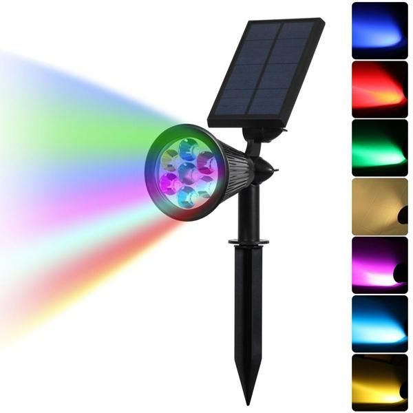 Solar Color Changing 7 Led Waterproof Spot Light Outdooor Yard