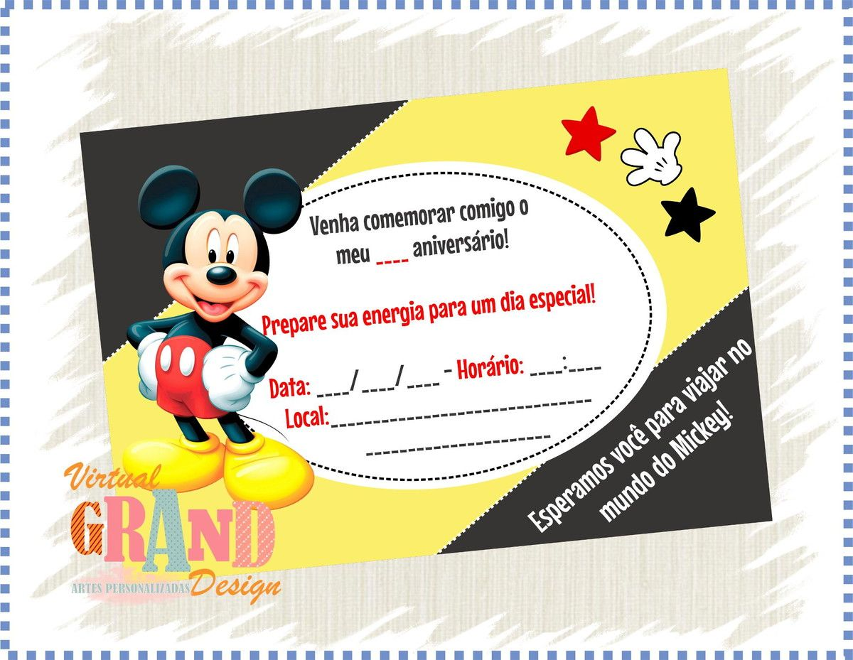 50 Convites - Mickey | Virtual Grand Design | Elo7