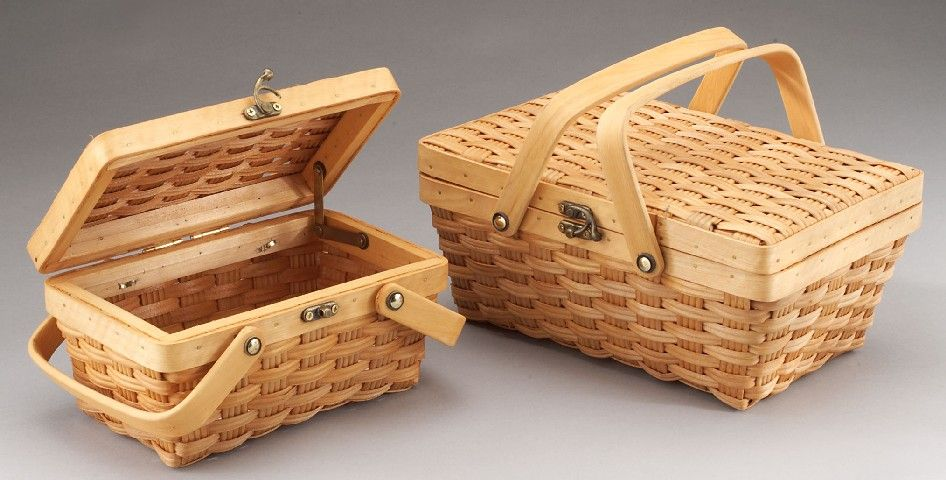 Set/2 Woodchip Suitcase with Metal Latch and Flex Handle  #picnic #giftbaskets