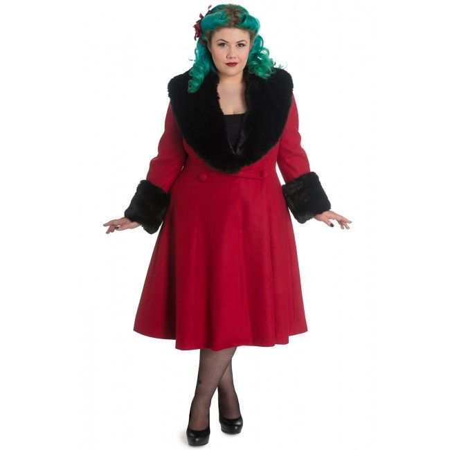 Shonna coat by Hell-Bunny in Plus Size Red Coat.  Classic retro coat in a nice burgundy red colour.  Removeable collar. Pair it with your own gorgeous boots for a chic winter look.