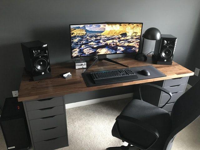 Reddit Battlestations My Karlby Battlestation With Matte Polyurethane Finish Home Office Setup Diy Computer Desk Game Room Design