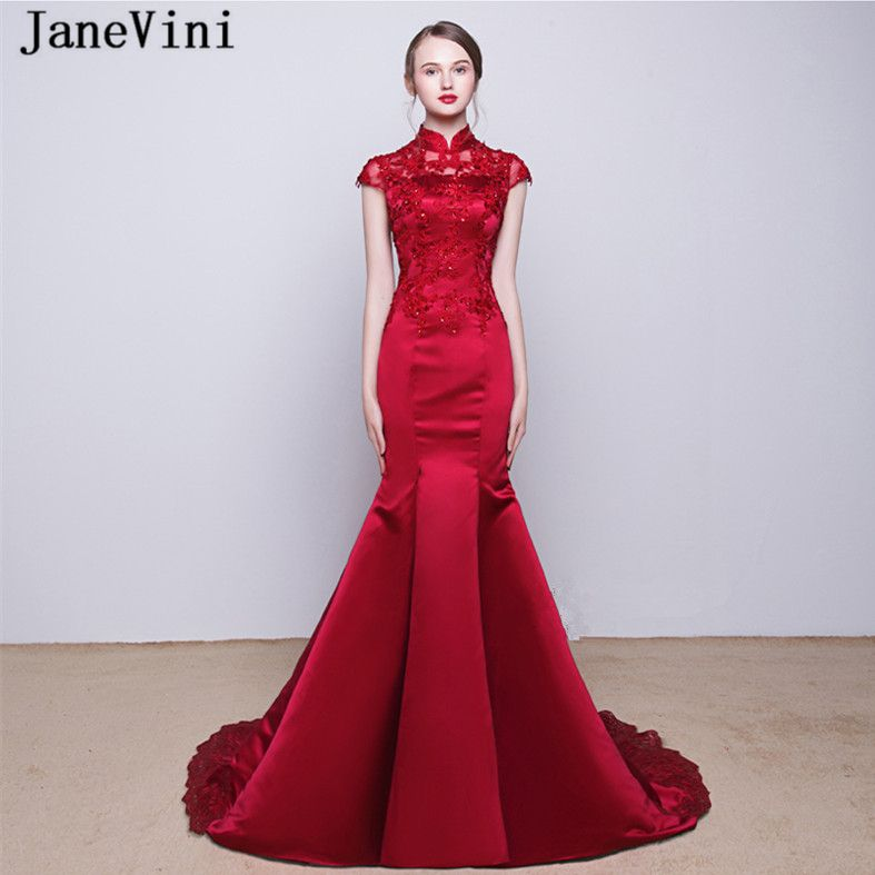 a9a34609edc JaneVini 2018 Burgundy Satin Mother of The Bride Dresses High Neck Lace  Applique Sequined Mermaid Long Evening Gowns Sweep Train