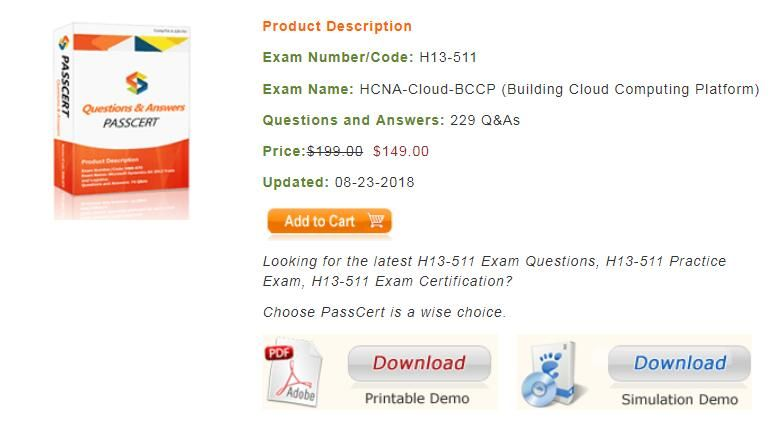 You will get the latest HCNA-Cloud H13-511 dumps from