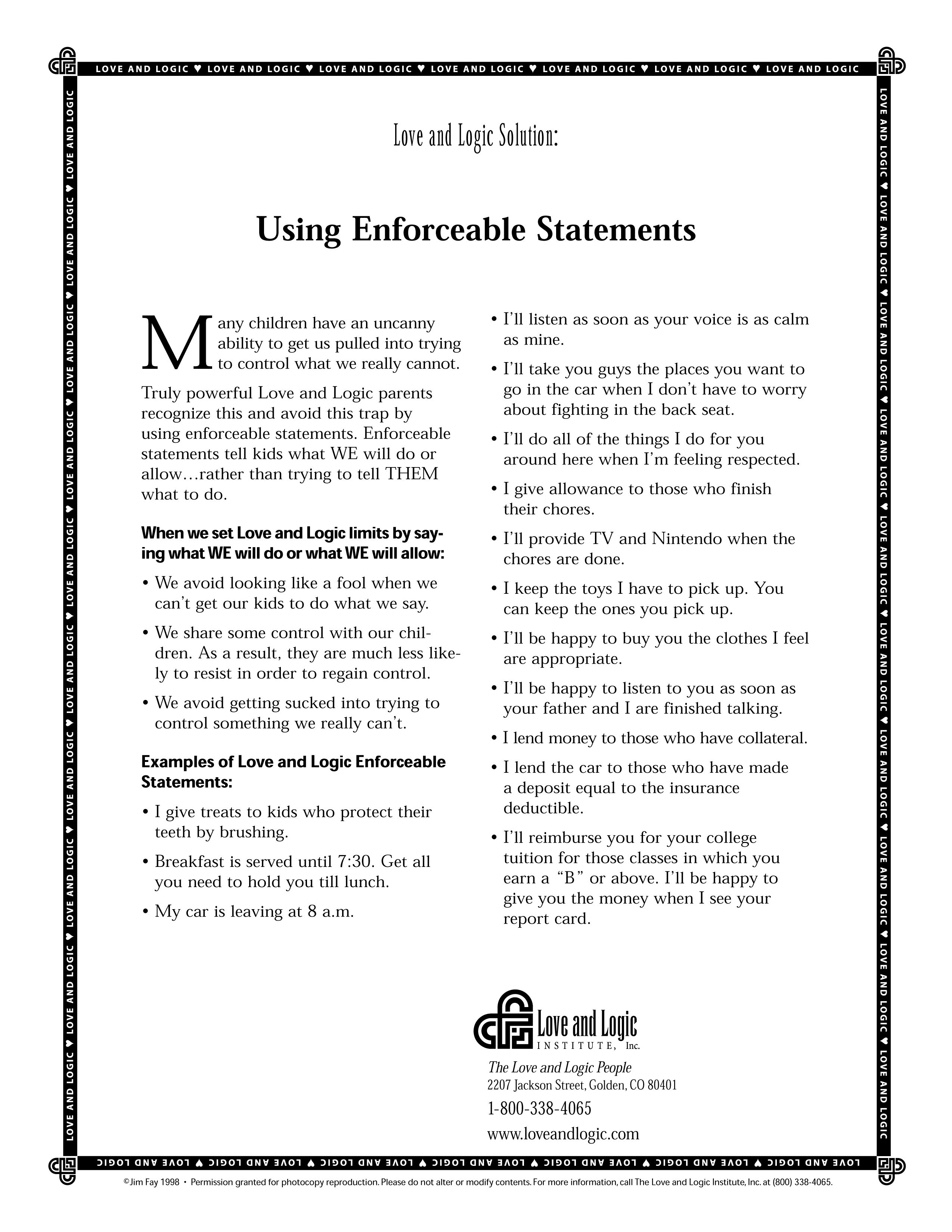 Parenting handout on how to use Enforceable Statements with your ...
