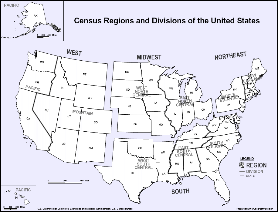 Basic US Geography WestMidwestSouthNortheast Regions GED - Basic us map