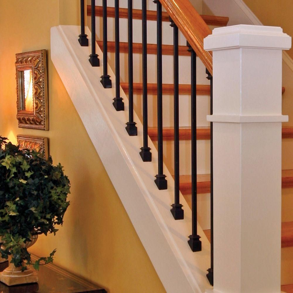 Best Stair Parts 44 In X 1 2 In Matte Black Metal Baluster I555B 044 Hd00D Staircase Remodel 400 x 300
