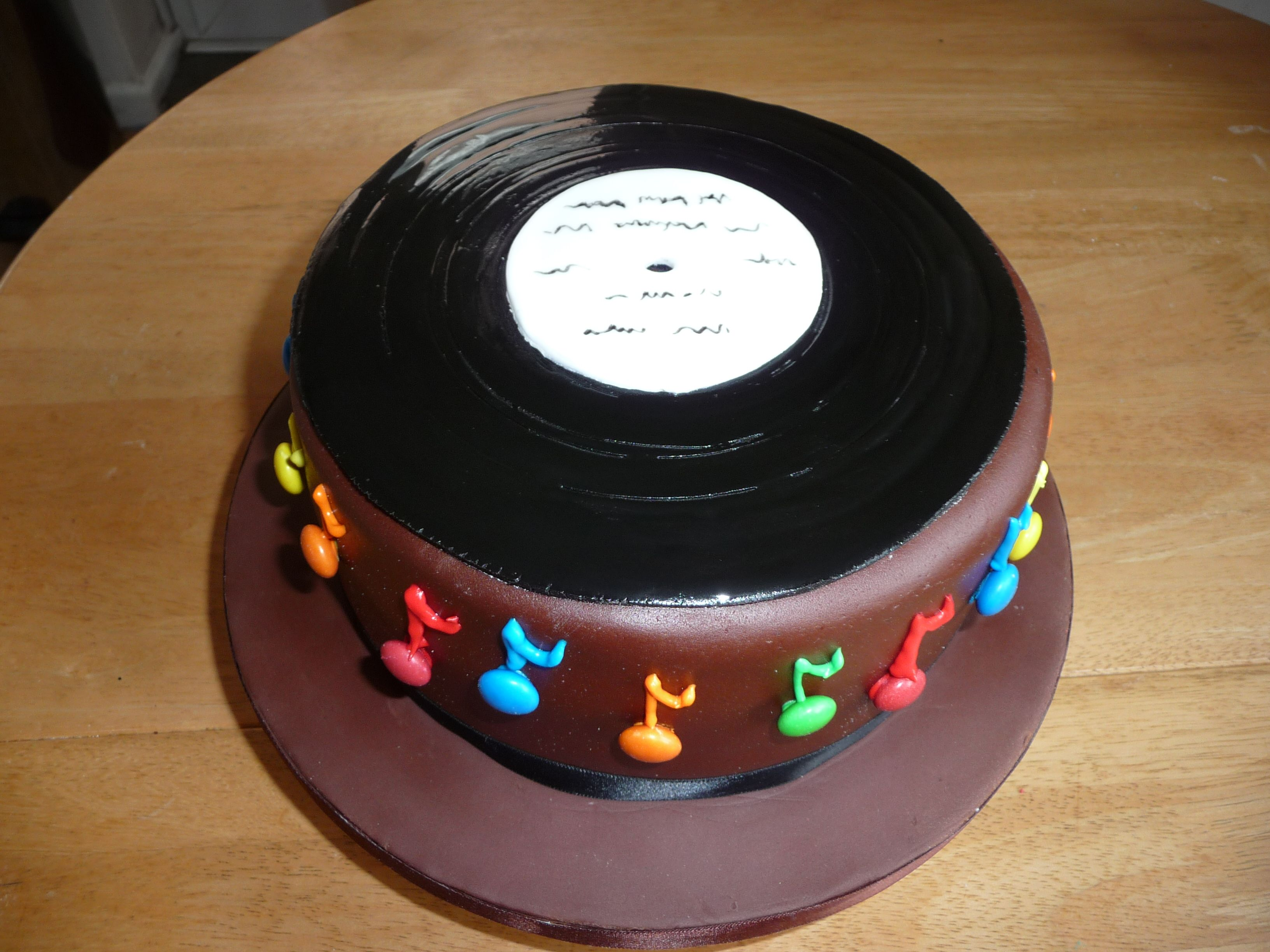 Image Of A Birthday Cake With Record For Dj