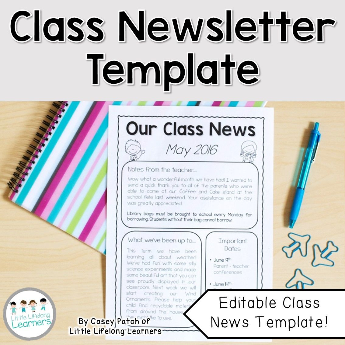 build positive relationships with the parents in your classroom with this fun printable classroom newsletter template