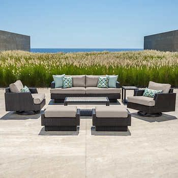 Portofino Comfort 7 Piece Seating Set With Motion Club Chairs In Taupe Mist