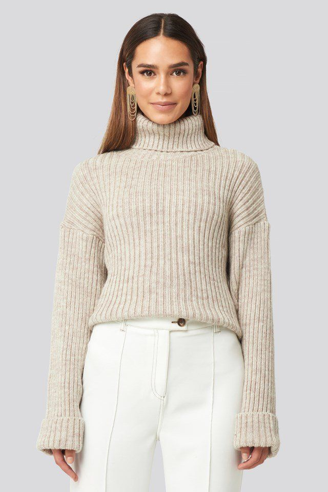 Photo of Ribbed Knitted Turtleneck Sweater Beige