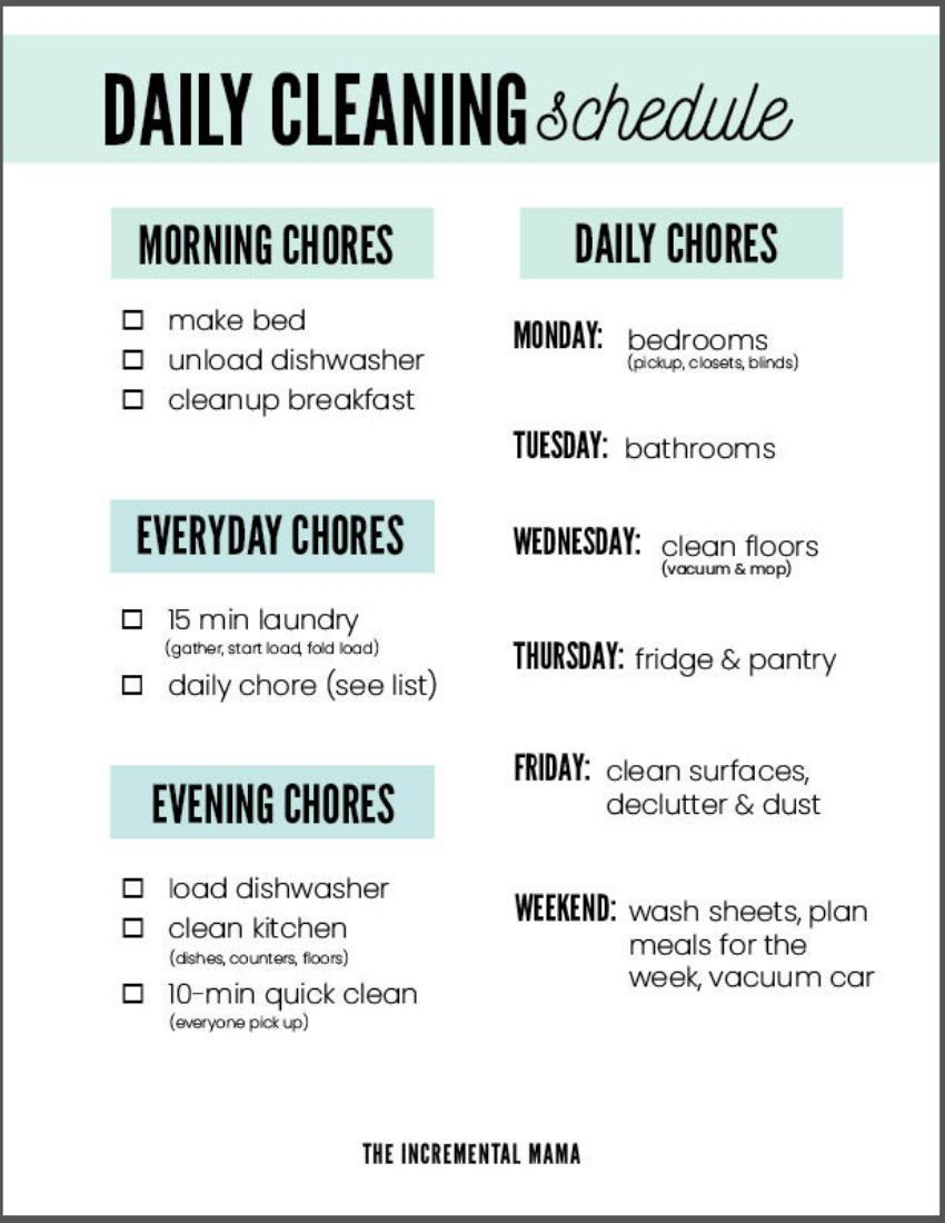 The Realistic Cleaning Schedule You Need to Keep Your House Clean ...