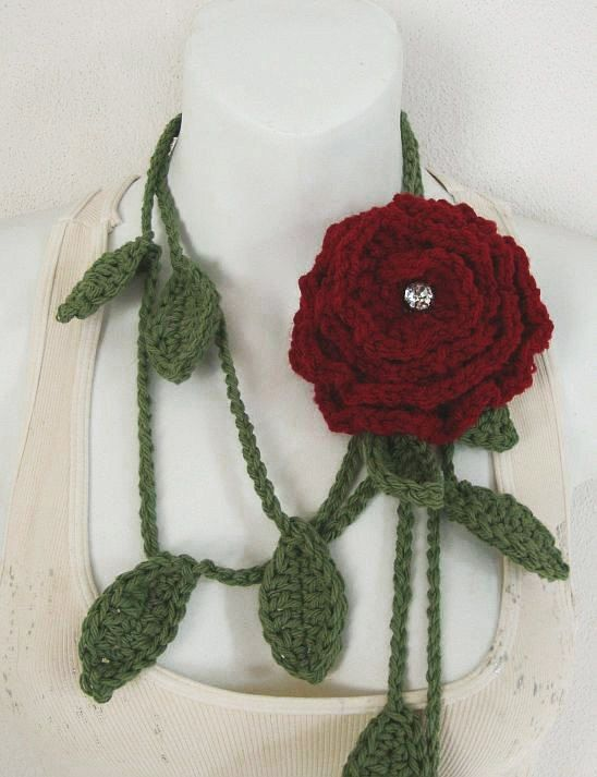 Crochet Leaf Lariat PDF Pattern includes Flower von DaintyBouquet ...
