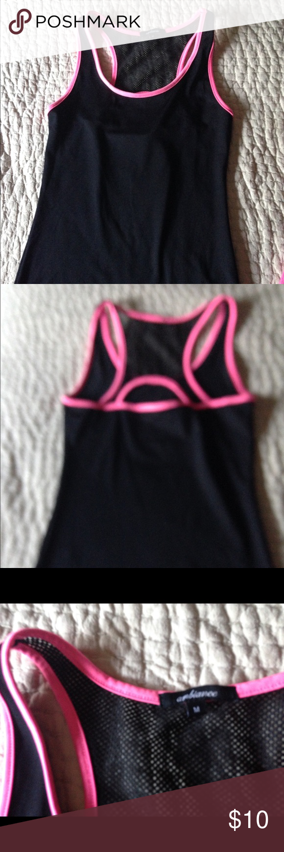 Black & pink tank interesting look at back design Some areas mesh no tags never worn Ambiance Tops Tank Tops