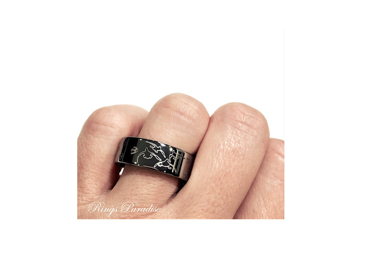 Duck Wedding Bands Animal Track Duck Print Ring Engraved Flat