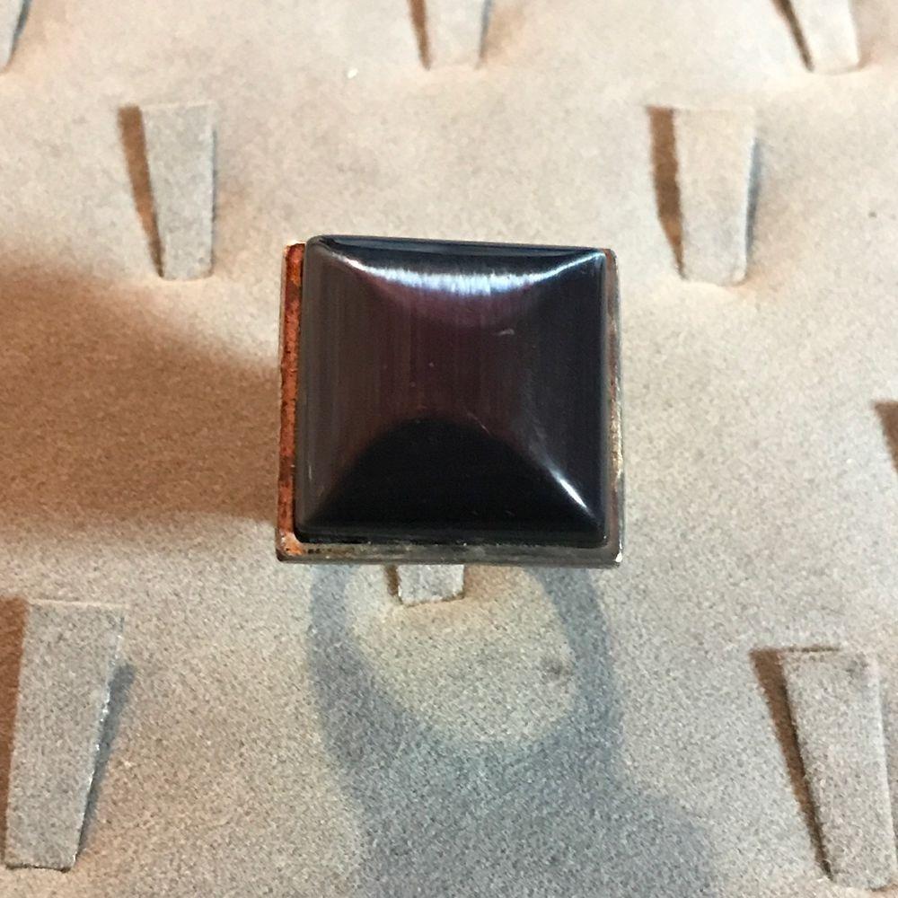 Modernist Brutalist French Metal Pointus Cocktail Ring Prism Hematite Sterling #MetalPointus