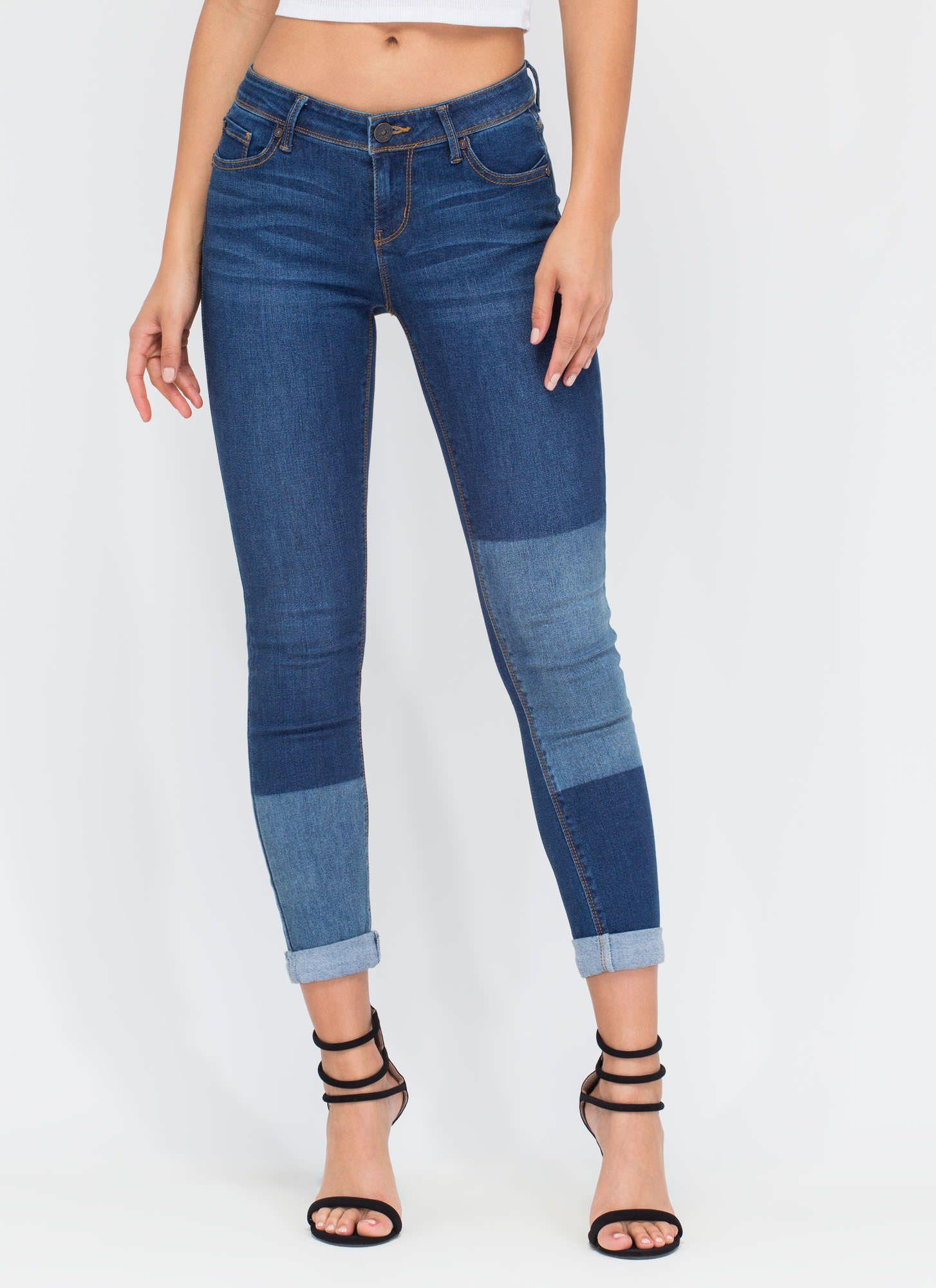 599c0b818847 Effortless Faded Patch Skinny Jeans BLUE - GoJane.com | DIY Fashions ...