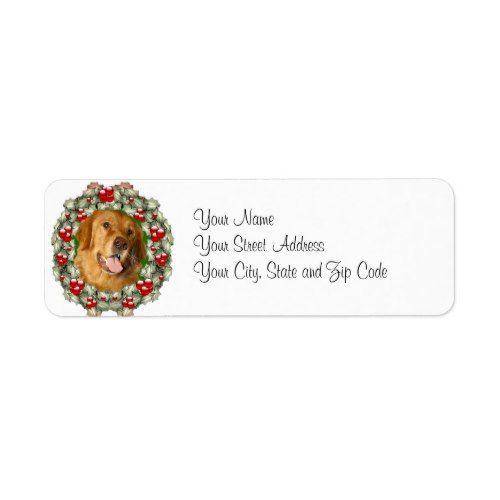 Golden Retriever Christmas wreath Label Christmas address labels