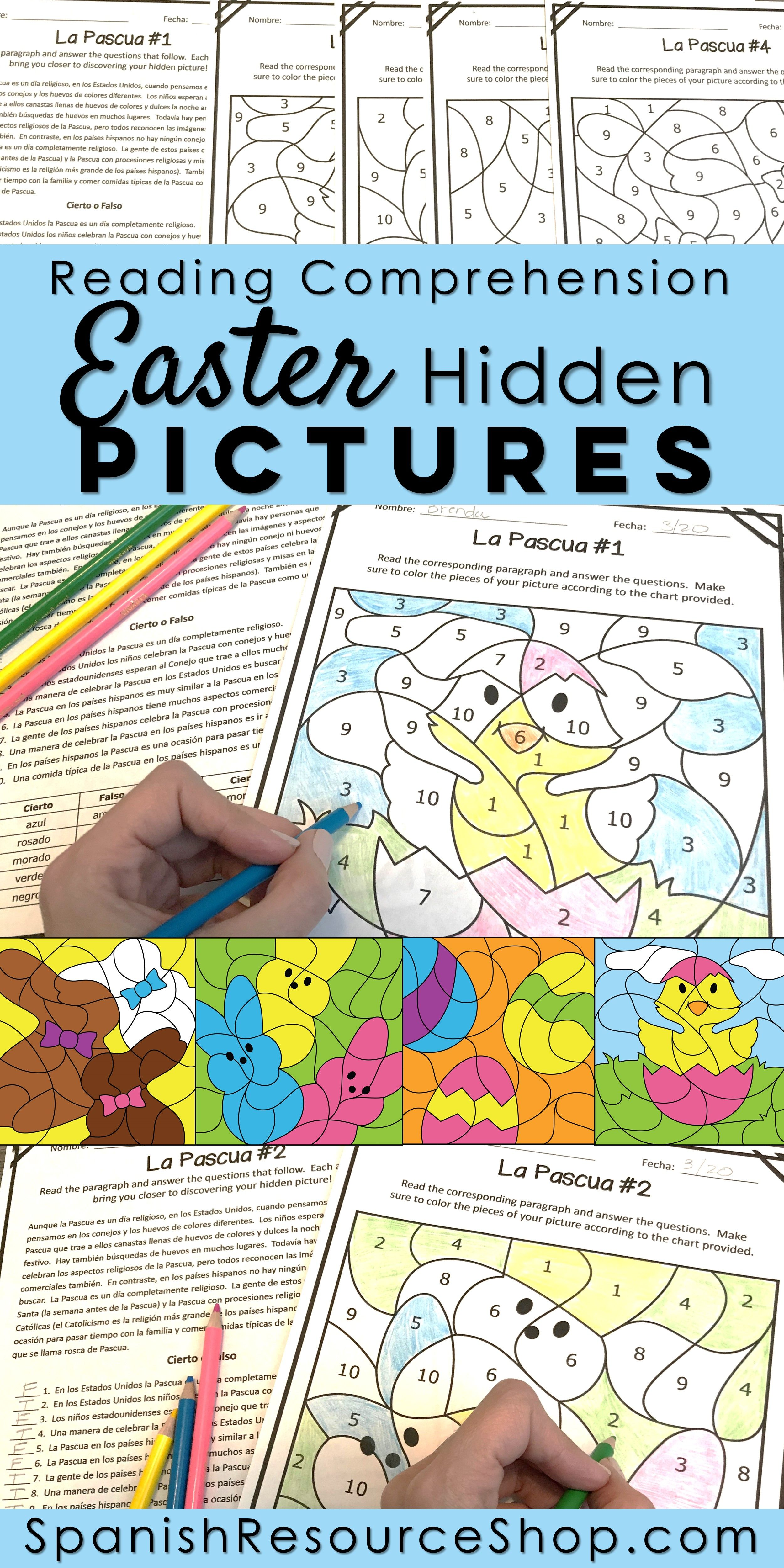 Spanish Easter Reading Comprehension Hidden Pictures