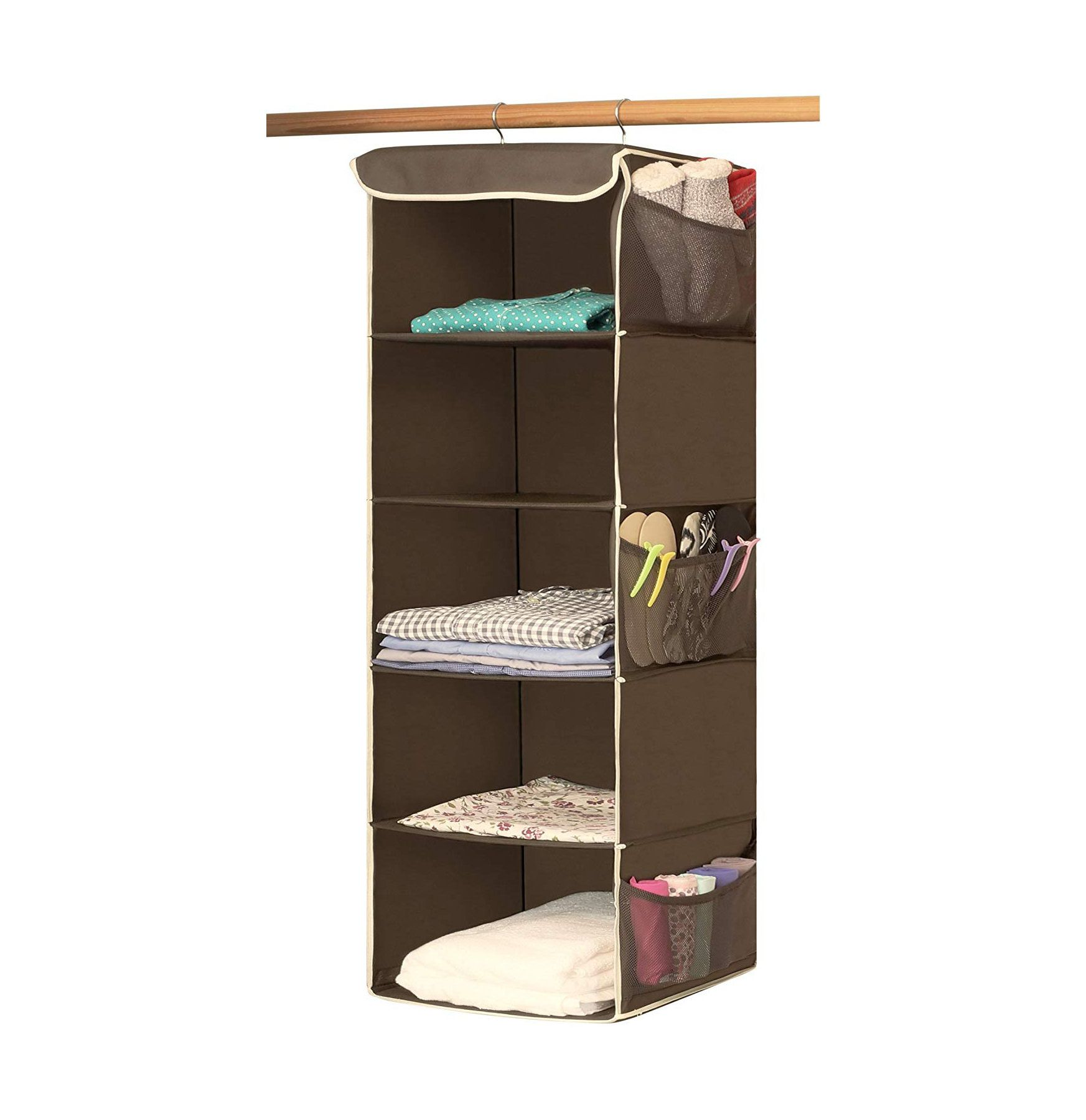 25 Of The Most Life Changing Organization Products On Amazon Hanging Closet Organizer Hanging Closet Dorm Storage