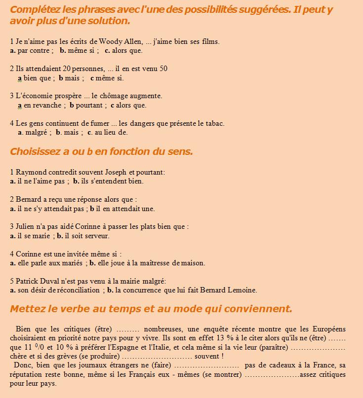 L Opposition Et La Concession Corrige Du Premier Exercice 1 A B Et C 2 B 3 B 4 A Corrige Du Deuxieme Exercice 1 B 2 A 3 B 4 Education Fle Journal