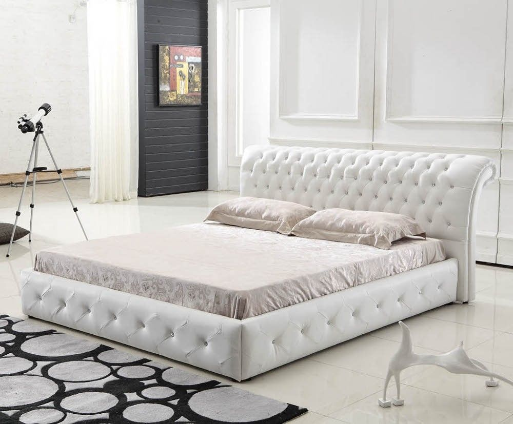 white quilted bed frame   bed frames ideas   pinterest   white